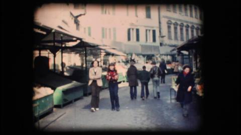 Vintage 8mm. Market in Bolzano Stock Video Footage