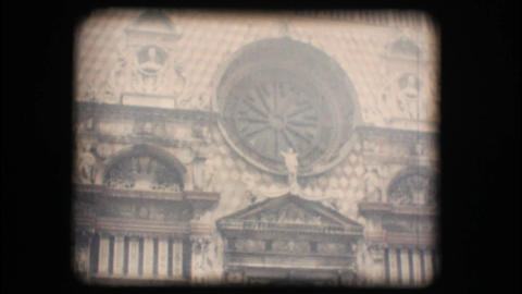 Vintage 8mm. View of church with fog Footage
