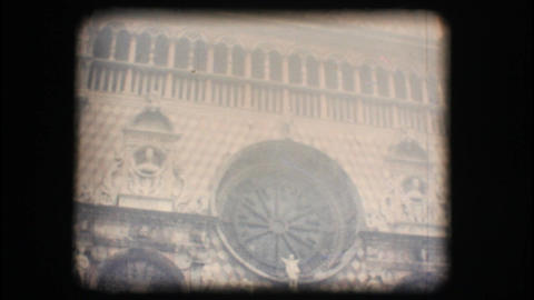 Vintage 8mm. View of church with fog Stock Video Footage