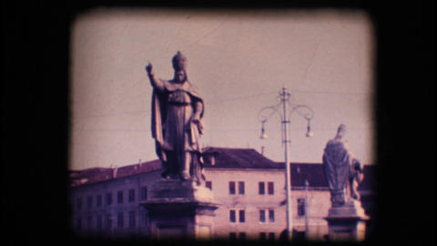 Vintage 8mm. Statues in Padova, Italy Footage
