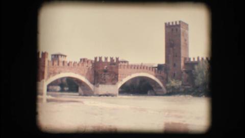 Vintage 8mm. Medieval bridge in Verona Footage