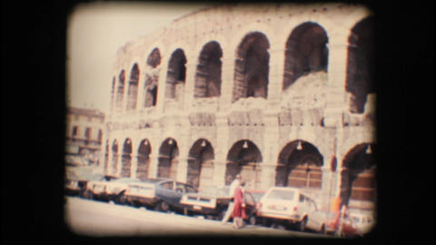 Vintage 8mm. Verona arena Stock Video Footage