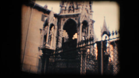Vintage 8mm. Monument in Verona Stock Video Footage