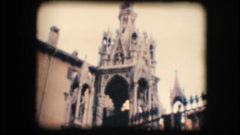 Vintage 8mm. Monument in Verona Footage
