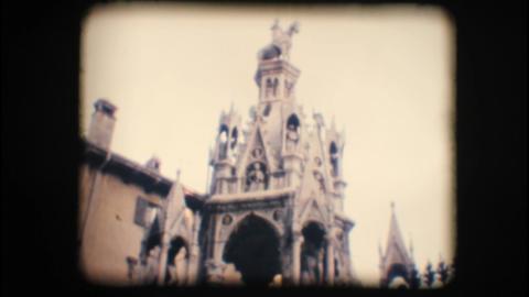 Vintage 8mm. Monument in Verona Stock Video Footage