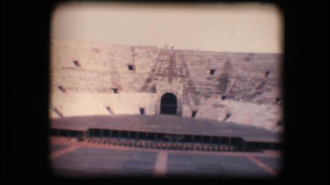 Vintage 8mm. Stage inside Verona arena Stock Video Footage
