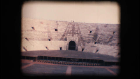 Vintage 8mm. Stage inside Verona arena Stock Video Footage