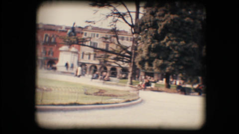 Vintage 8mm. Park and fountain Stock Video Footage