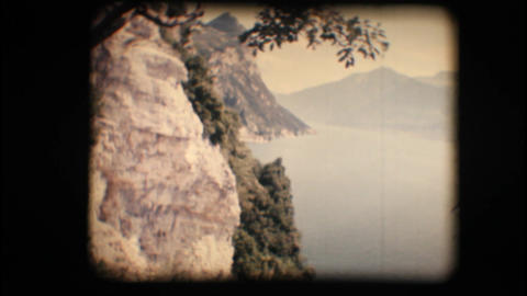 Vintage 8mm. View of mountains and lake Stock Video Footage