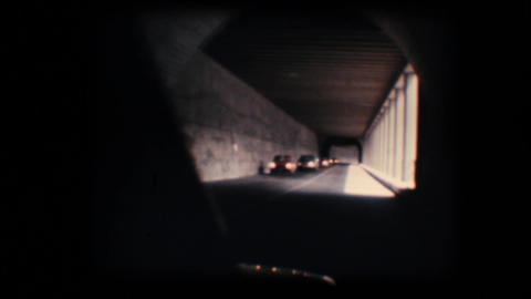 Vintage 8mm. Camera car in tunnel Stock Video Footage