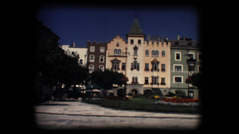Vintage 8mm. Town square and church in Brixen Stock Video Footage