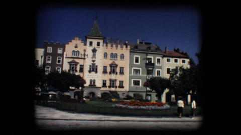 Vintage 8mm. Town square and church in Brixen Footage