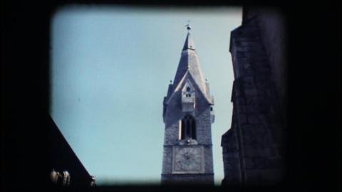Vintage 8mm. Medieval steeple Stock Video Footage
