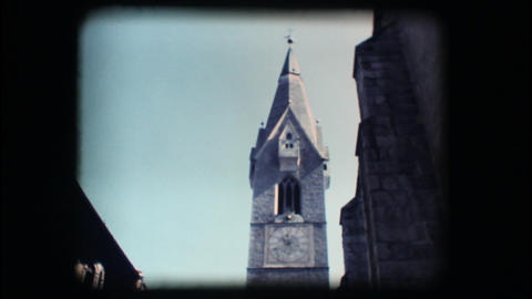 Vintage 8mm. Medieval steeple Footage