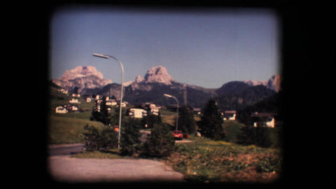 Vintage 8mm. Gardena valley and Dolomite mountains Footage