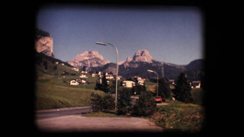 Vintage 8mm. Gardena valley and Dolomite mountains Stock Video Footage
