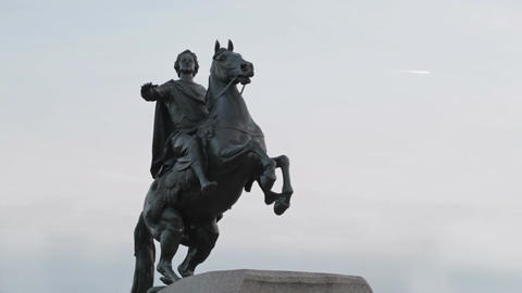 A monument to Peter the great - the bronze horseman and passing airplane Footage