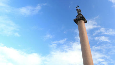 Timelapse. Alexander Column on Palace Square in St.... Stock Video Footage