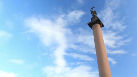 Timelapse. Alexander Column on Palace Square in St. Petersburg. The monument was erected after the Footage