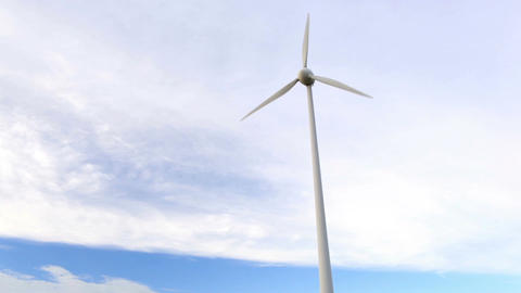 One wind turbine over the blue sky with clouds. Wide... Stock Video Footage