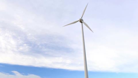 One wind turbine over the blue sky with clouds. Wide shot, low angle Footage