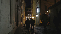 Street of the old city at night. The silhouettes of... Stock Video Footage