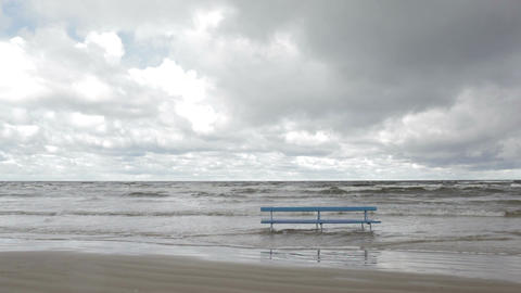 Bench On The Baltic Sea Shore. Autumn Landscape. stock footage