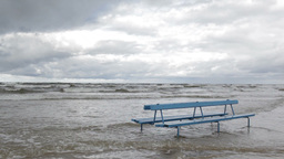 Bench on the Baltic sea shore. Autumn landscape Stock Video Footage