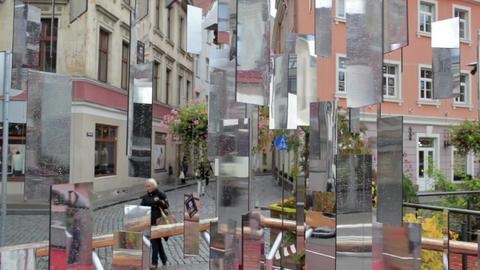 RIGA, LATVIA - OCTOBER 10, 2012: Tree of Mirrors installation symbolizes 500 years of Riga's Christm Footage