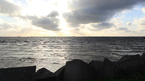 Dark sea with bright sky Stock Video Footage