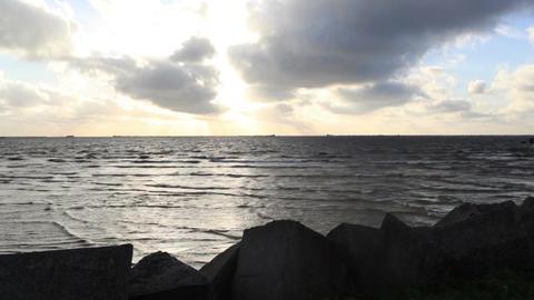 Dark sea with bright sky Footage