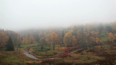 The Fog Is Coming On Forest With Curving River. Time Lapse. Toila, Estonia. stock footage