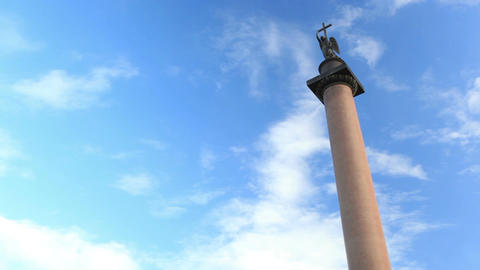 Alexander Column on Palace Square in St. Petersburg. The monument was erected after the Russian vic Footage