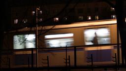 Metro subway train outdoors at night Footage