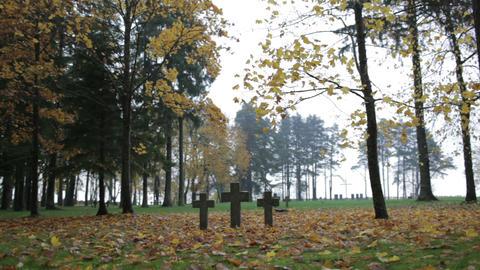Three tombstone crosses. Cemetery of German soldiers in... Stock Video Footage