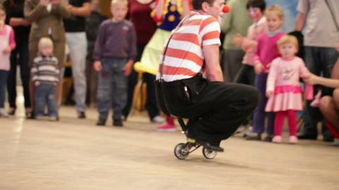 Clown riding a small bike in Akvamarine circus on November 11, 2012 in Moscow, Russia Footage