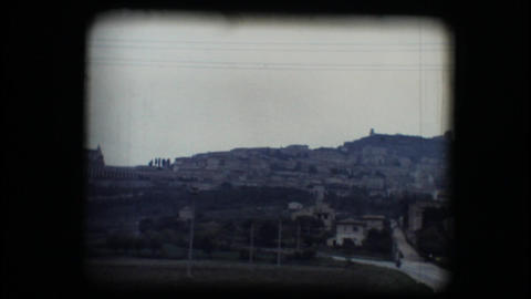 Vintage 8mm. View of Assisi Stock Video Footage