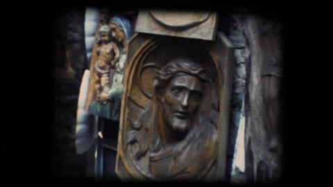 Vintage 8mm. Wooden Christ Stock Video Footage
