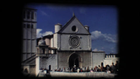 Vintage 8mm. Basilica of San Francesco (Saint Fran Stock Video Footage