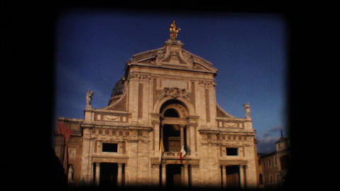 Vintage 8mm. Old church in Italian town Footage