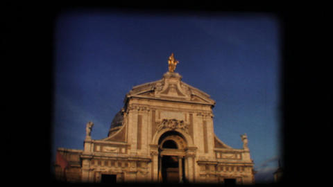 Vintage 8mm. Old church in Italian town Stock Video Footage