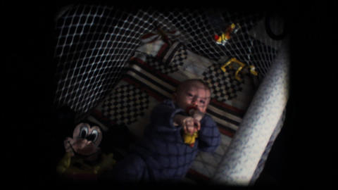 Vintage 8mm. Baby in his cradle Stock Video Footage