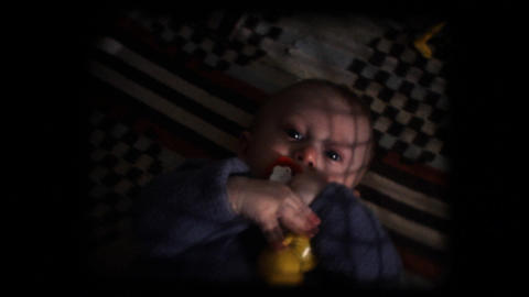 Vintage 8mm. Baby In His Cradle stock footage
