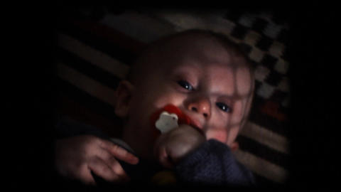 Vintage 8mm. Baby in his cradle Stock Video Footage