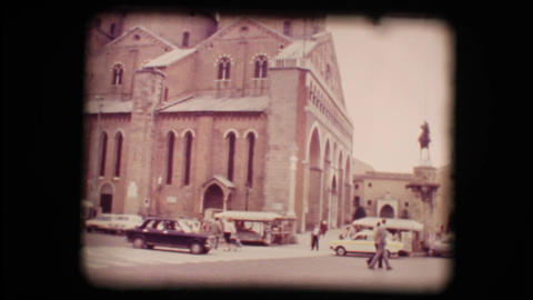 Vintage 8mm. View of church in Padova Footage