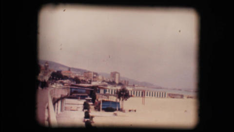 Vintage 8mm. Empty beaches in winter Stock Video Footage