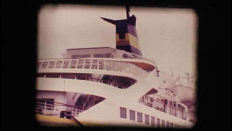 Vintage 8mm. Docked cruise ship Footage