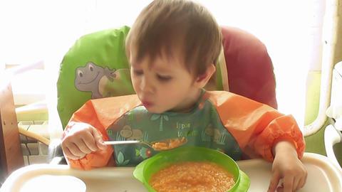 boy eats Footage