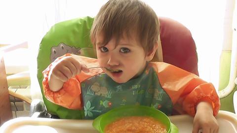 boy eats Stock Video Footage