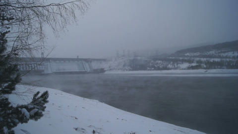 Winter Krasnoyarsk Hydropower Plant Footage